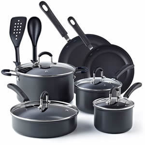 Cook N Home 02597 12-Piece Nonstick Hard Anodized Cookware Set