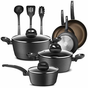 NutriChef 12-Piece Nonstick Hard Anodized Kitchen Cookware Set