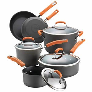 Rachael Ray 87375 10 Piece Brights Hard Anodized Nonstick Cookware