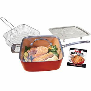 BulbHead 11198 Red Copper Square Pan 5 Piece Set by BulbHead