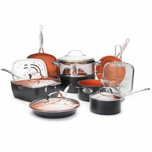 Gotham Steel Ultimate 15 Piece All in One Chef's Kitchen Set with Non-Stick Ti-Cerama Copper Coating