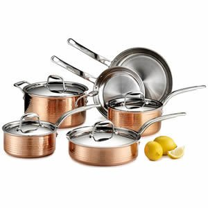 Lagostina Martellata Hammered Copper Tri-Ply 10-Piece Stainless Steel Cookware Set