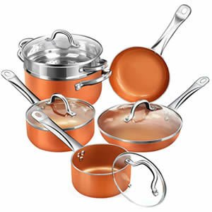 SHINEURI RCS-Tech Real Copper Infused Ceramic Coating 10 Pieces Cookware Set