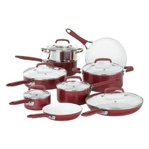WearEver 15 Piece Ceramic PTFE PFOA & Cadmium Free Nonstick Cookware Set
