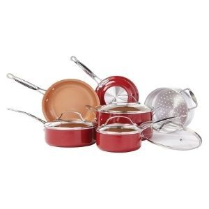 BulbHead Red Copper 10 PC Copper-Infused Ceramic Non-Stick Cookware Set