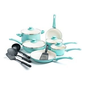 GreenLife Soft Grip Healthy Ceramic Nonstick Cookware Pots and Pans Set 14 Piece