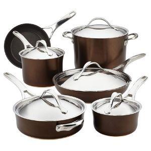Anolon Nouvelle Copper Hard Anodized Nonstick Cookware Pots and Pans Set 11 Piece