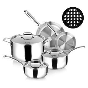 Duxtop Whole-Clad Tri-Ply Stainless Steel Induction Cookware Set 9PC